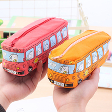 1Pcs Kawaii School Bus pencil case large capacity canvas pencil bag office & school supplies stationery school supplies pen box недорого