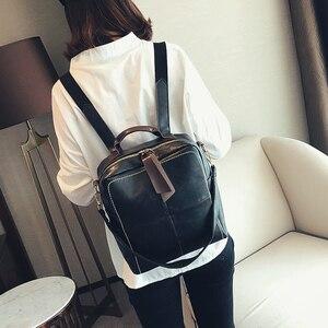 Image 2 - Женский кожаный рюкзак на молнии в стиле ретро, модная школьная сумка, рюкзаки для девочек подростков, многофункциональный рюкзак, сумка на плечо