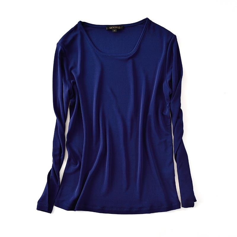 Autunno E Inverno A Maniche Lunghe T Shirt Torsione Doppio di Seta Lavorato A Maglia di Seta Della Camicia Del Collare Femminile di Qualità - 5