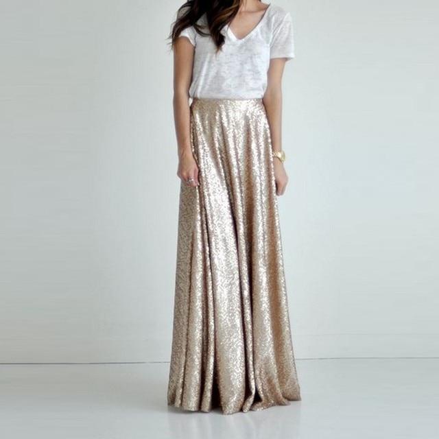 Fashion Champagne Gold Sequin Maxi Women Skirt Zipper Waist Custom Made  A-line Floor Length Chic Causal Sequins Long Skirt Saia 8f2dec3df41d