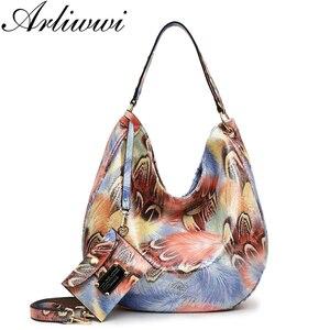 Image 1 - Arliwwi Brand Elegant Shiny Women Handbags Hobos Rainbow Shoulder Bags Female Big Tote Colorful Feature Cross body Bag PY02