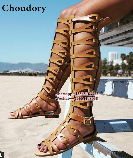 buy good popular brand finest selection US $49.99 5% OFF|Luxury Brand Designer Knee High Gladiator Sandals Boots  Cutouts Back zipper Wedges Gladiator Sandals Women Summer Flat Shoes-in ...