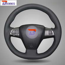 BANNIS Black Artificial Leather DIY Hand-stitched Steering Wheel Cover for Toyota Corolla RAV4 2011 2012 Car Special