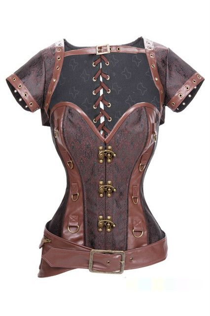 2015New Free Shipping Retro Sexy Goth Brown Brocade Steampunk Corset with Removeable Jacket and Belt Gothic Corsets
