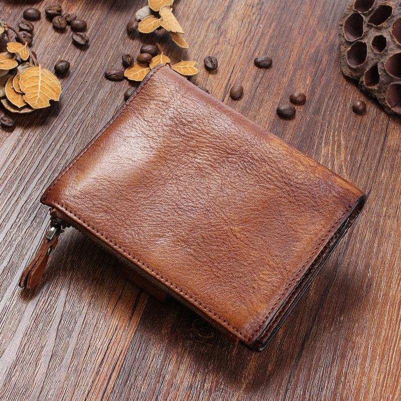 AETOO Original Leather handmade wallet male short section retro first layer cowhide men women young leather retro wallets