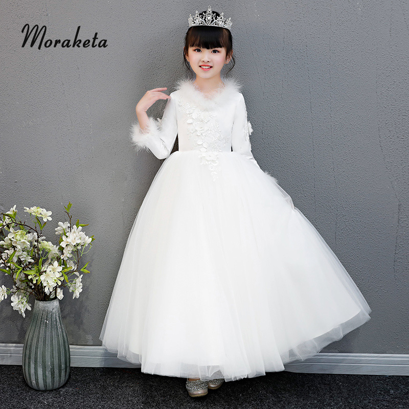 Feather Long Sleeves White   Flower     Girl     Dresses   For Wedding Party 2019 Princess Puffy Tulle Ball Gown Toddler Pageant   Dresses