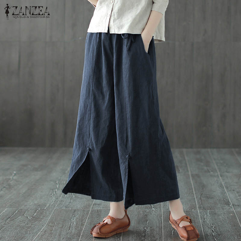 Casual   Wide     Leg     Pants   Women's Trousers ZANZEA 2019 Vintage Mid Elastic Waist Cropped   Pants   Female Button Spilt Pantalon Palazzo