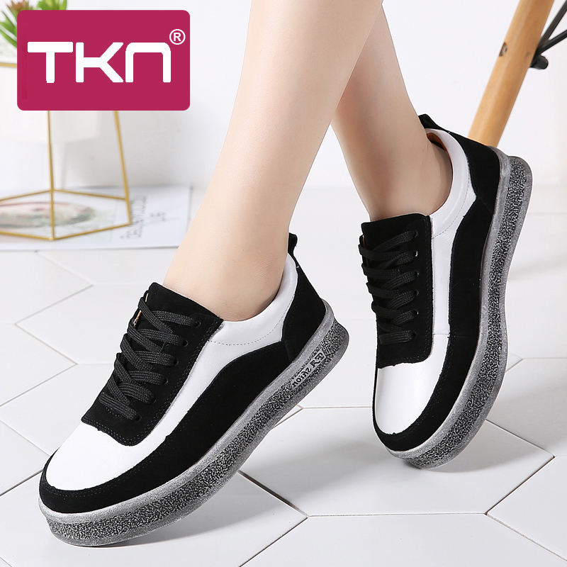TKN 2019 Spring Women Casual Sneakers Shoes Lace Up   Leather     Suede   Flats Boat Shoes Female Footwear Shoes for Women Creepers 1706