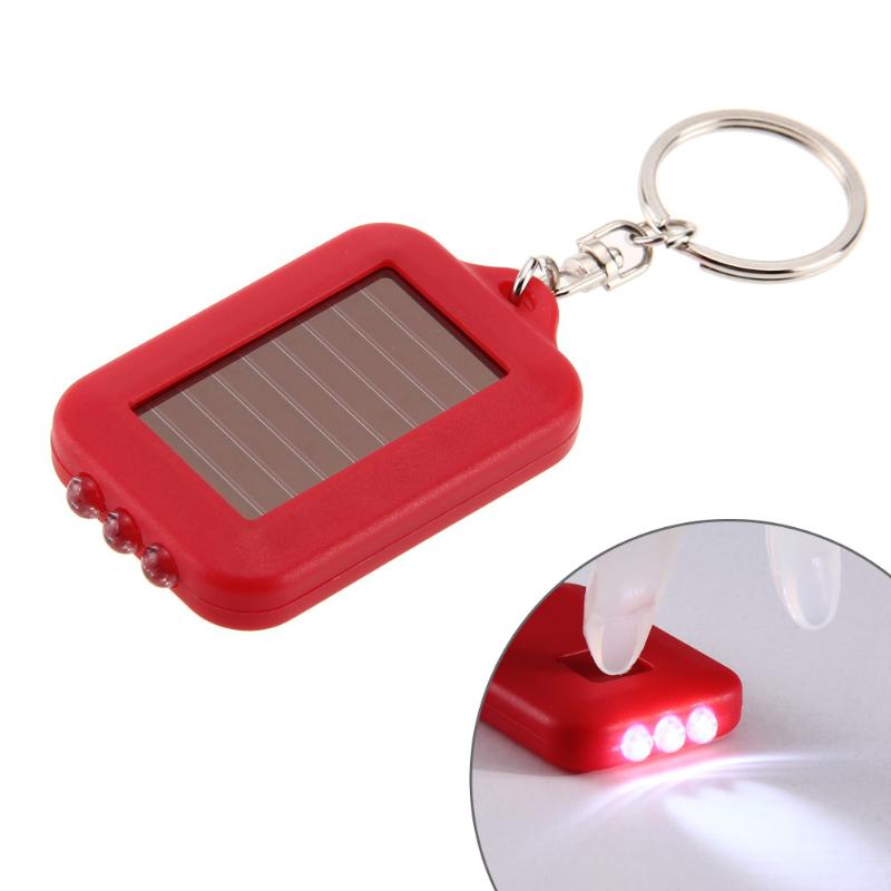 3 LEDs Solar Panel Electric Torch Key Chain Flashlight Camping Lamp Rechargeable Spotlight Power Energy 100000 Hours Solar Lamp