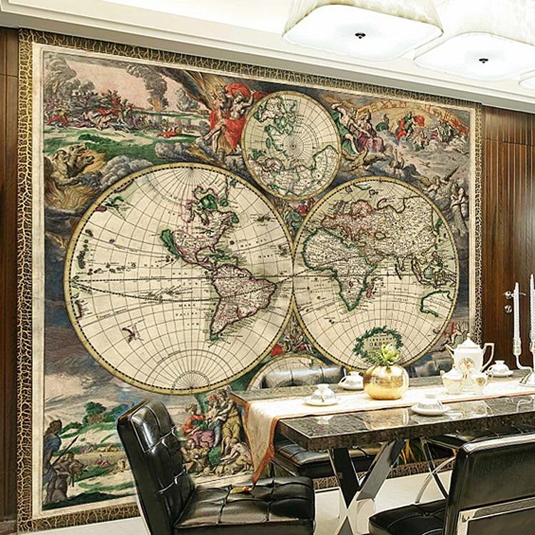 ⊹Custom 3D Stereo Muurschildering papel de parede wereldkaart voor ...