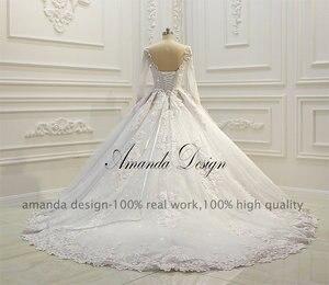 Image 4 - Abiti דה sposa יוקרה ארוך שרוול תחרה Appliqued נמוך חזרה מבריק חתונה שמלה