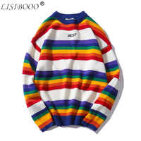 LISIBOOO New Fashion Retro Men Sweater Round Neck Sweater Rainbow Striped Couple Sweater Men and Women Lovers Loose Tops