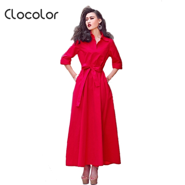 Clocolor summer  maxi dress women A-line turn-down collar red single-breasted party women dress Elegance style maxi dress