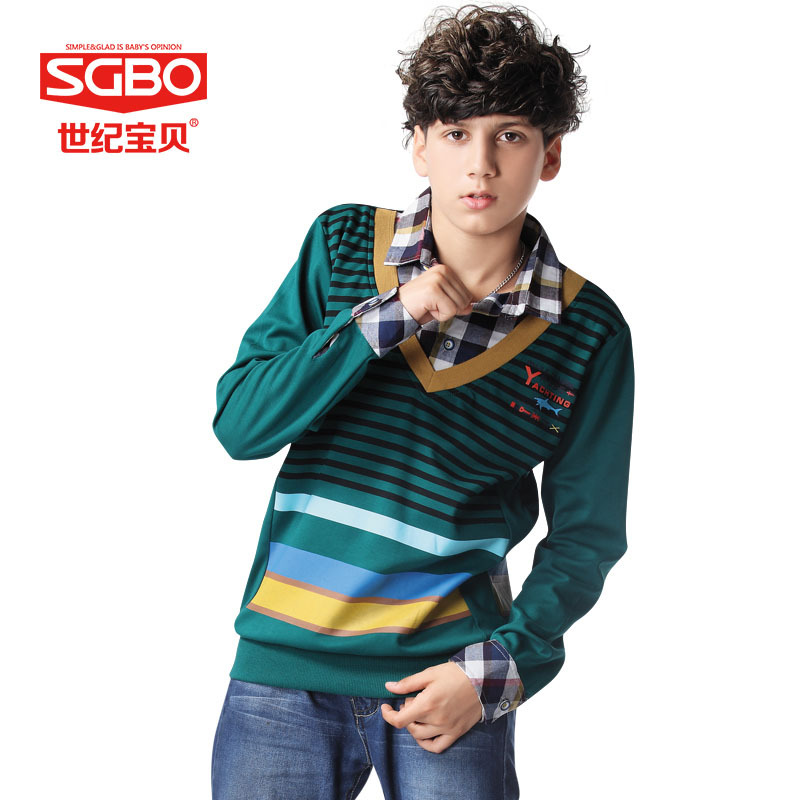 New Arrival Fake Two Piece Fashion Boy Casual T Shirt 13 14 15 16