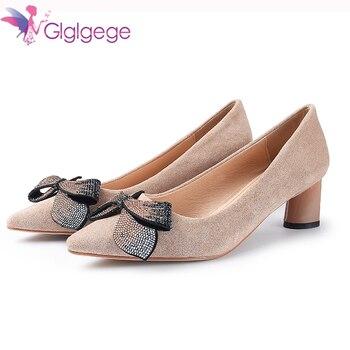 766a3fc9 Glglgege 2019 nueva marca zapatos de tacón grueso zapatos de mujer para  fiesta de boda zapatos de punta estrecha zapatos grandes tamaño 41