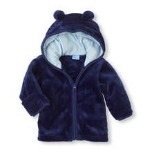 Male and female baby super Meng coral velvet hooded jacket infant hoodies three color options