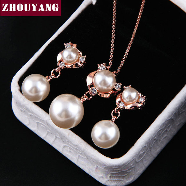 Top Quality ZYS019 Pearl Rose Gold Color Elegant Wedding Jewelry Necklace Earring Set Rhinestone Made with Austrian Crystals