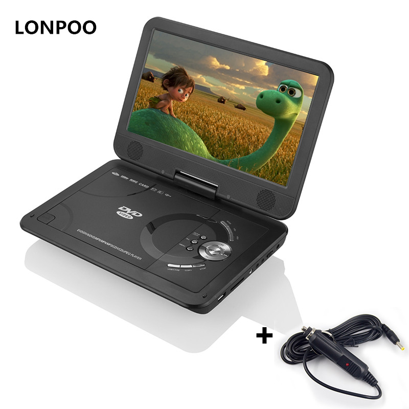 LONPOO DVD Player 10.1 Inch Portable DVD Player Car Charger USB SD Game TV with Rechargeable Battery CD DVD Player APBAT