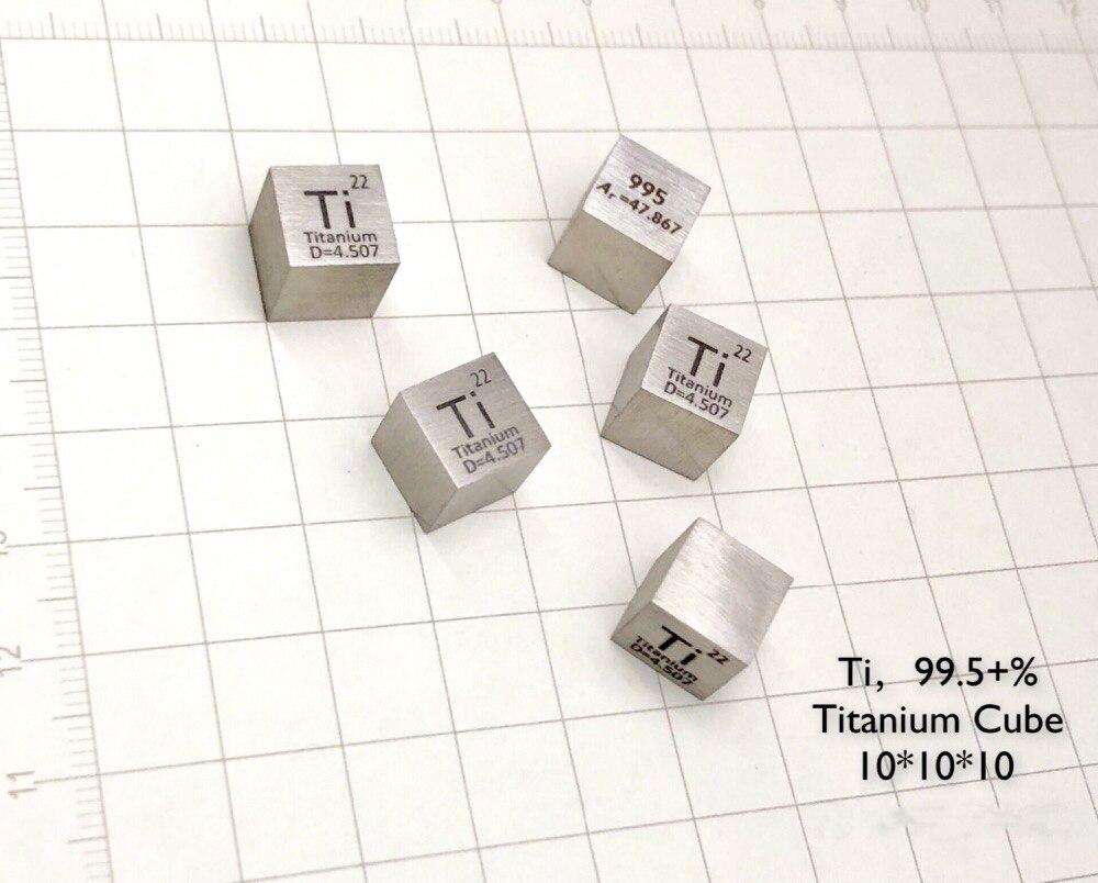 Titanium Metal 10mm Density Cube 99.5% Pure for Element Collection цена