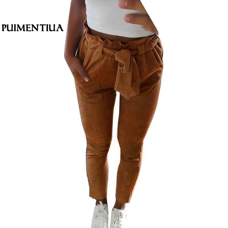 Puimentiua 2018 New Fashion Women Casual Long   Pants   Drawstring Vintage Pencil   Pants   Trousers Female High Waist Streetwear   Capris