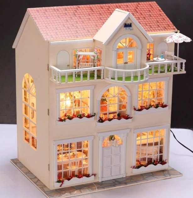 Fairy Homeland Diy Wooden Dollhouse Lighting Three Storeyed House Gift With Light In Doll Houses