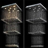 Modern Crystal Squar Ceiling Lamp Crystal Lustres De Sala Light Fixture GU10 Bulbs Double Staircase Lights