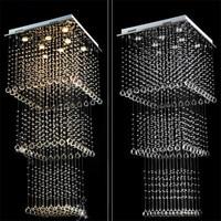 Moderne Cristal squar Plafond Lampe En Cristal Lustres De Sala Luminaire GU10 Ampoules Double Escalier Feux Longue Plafond Éclairage