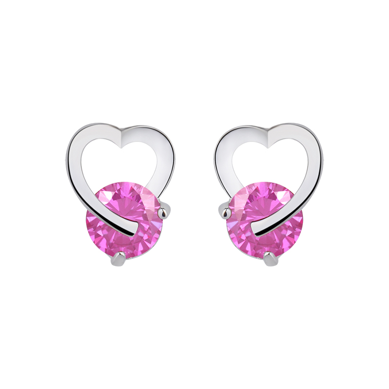 Hot Luxury Heart Band Real Pure Silver Plated Jewelry Cubic Zirconia Stone Earrings Fashion Women Favourites GLE2173