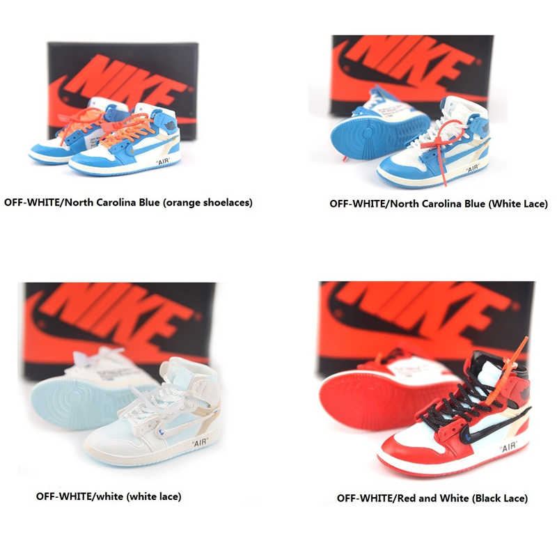 0f9678f125 OFF-WHITE personality creative pendant keychain 3d stereo basketball shoe model  car key chain couple