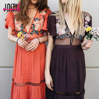 Jastie Coral Amery Maxi Dress Flower Embroidery Long Dresses Patchwork Mesh V Neck Sexy Women Dress