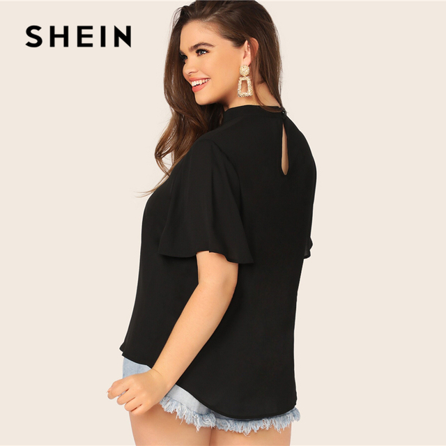 SHEIN Plus Size Black Keyhole Back V-Cut Neck Solid Top Blouse 2019 Women Summer Casual Cut Out Short Sleeve Plus Blouses Shirt 2