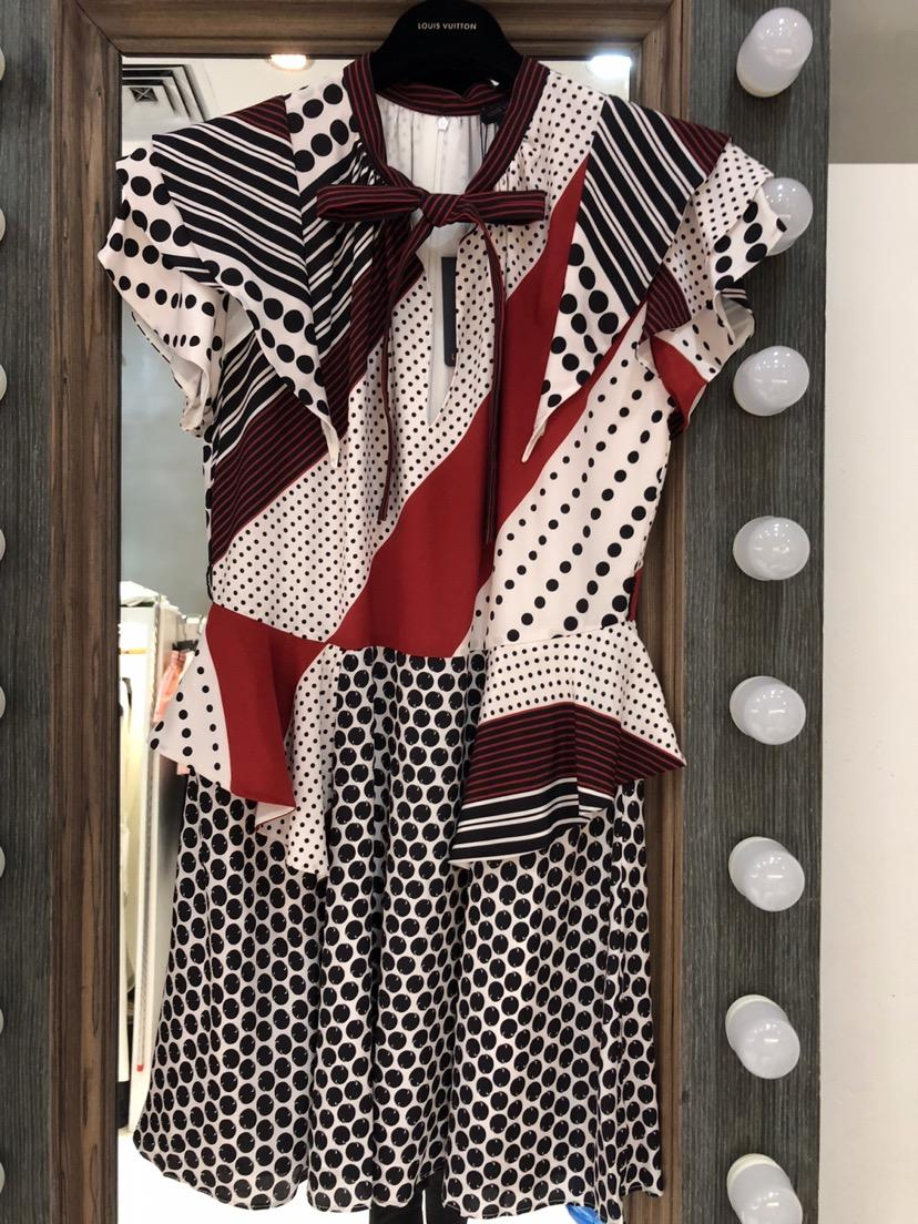 2019 High quality silk ladies colorblock print dress 0315