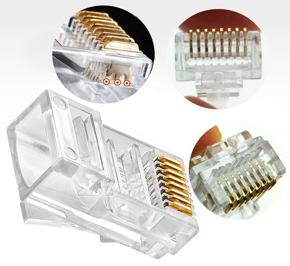 Xintylink 1000pcs Ez Rj45 Connector Plug Cat5 Cat5e Cat6 Wiring Socket Network 8p8c Gold Plated Utp Ethernet Cable Modular In Connectors From Lights
