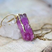 Natural Stone Geode Women's Pendant Necklace