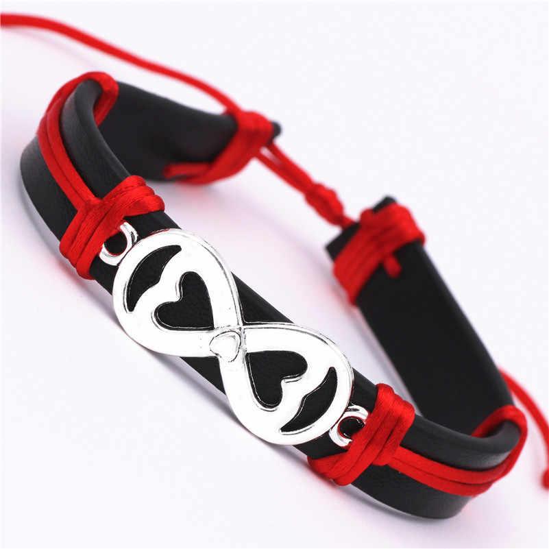 Новинка, оригинальные браслеты из искусственной кожи с сердечком бесконечность, подарок для мужчин и женщин, повседневные античные серебряные браслеты с двойным сердцем, манжета