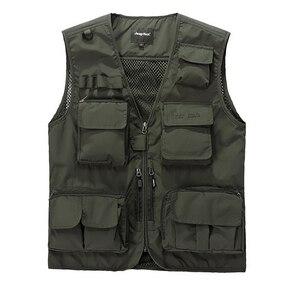 Мужской жилет с карманами, сетчатый жилет для охоты, рыбалки и походов, хлопковая Верхняя одежда без рукавов для лета