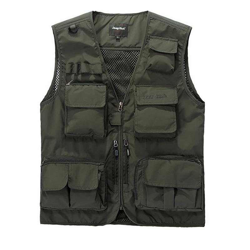 Summer Outdoors Waistcoat Men Pockets Mesh Photographer Hiking Hunting Fishing Vest Tactical Cotton Outwear Sleeveless Jacket