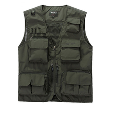 Summer Outdoors Waistcoat Men Pockets Mesh Photographer Hiking Hunting fishing Vest Tactical Cotton Outwear Sleeveless Jacket