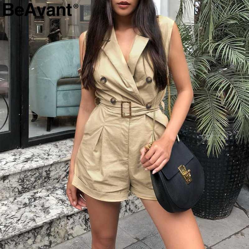 BeAvant офисный женский комбинезон женский летний короткий хлопковый костюм пляжного типа с v-образным вырезом на пуговицах Женский комбинезон