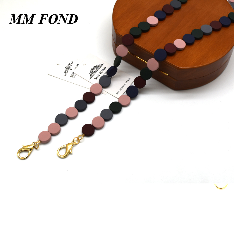 MM FOND rubber touching 1.6cm diameter bead bag strap super chic lady shoulder bag belt purse cross body straps new design