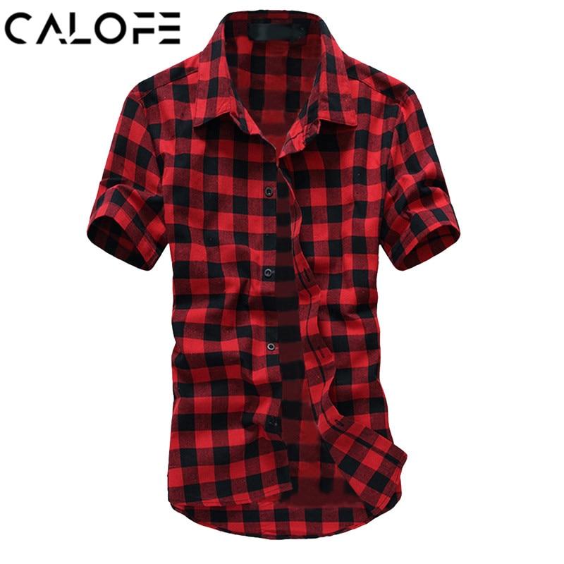 CALOFE Men Plaid Shirt Fashion Short Sleeve Mens Hawaiian Dress Shirts Homme Chemise 2018 Summer Male Casual Shirt Plus Size 3XL
