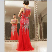 TPSAADE Red Prom Dresses 2017 Mermaid Prom Sweep Train