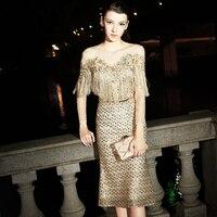 Роскошный Блёстки кисточкой вечерние платье с русалочкой с поясом сексуальная перспектива сетки лоскутное Вышивка с длинными рукавами Зол