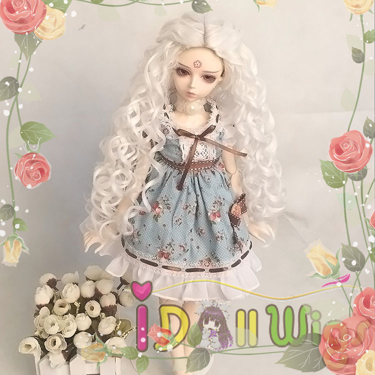 Free Shipping Popular Gift Synthetic Long Deep Spiral Curly Pure White 1/3 1/4 1/6 BJD&Pullip Dolls Wig Accessories On Sale dark brown short curly spiral curls women lady 3 4 half wig headband ftlg054 popular party hair free shipping