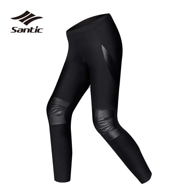 Santic Winter Cycling Pants Men Fleece Warm Road Bike Pants Autumn Long Padded Tights PU Windproof Bicycle Trousers Ciclismo цена