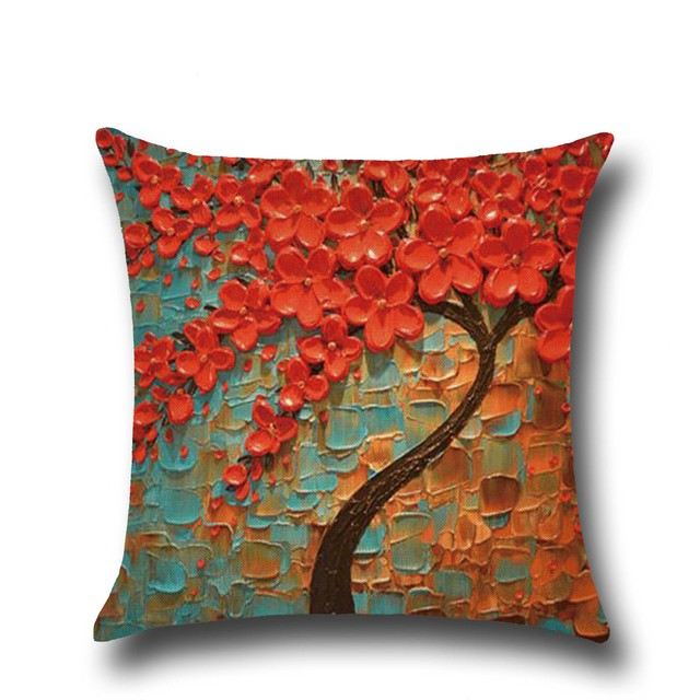 Tree Of Life Home Floral Linen Printed Cushion Cover Plain Patterned Durable  Sofa Pillow Case Couches