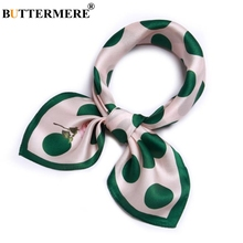 BUTTERMERE Printed Scarf Women Children Real Silk Head Scarves Green Wave Point Brand Spring Summer Pure For