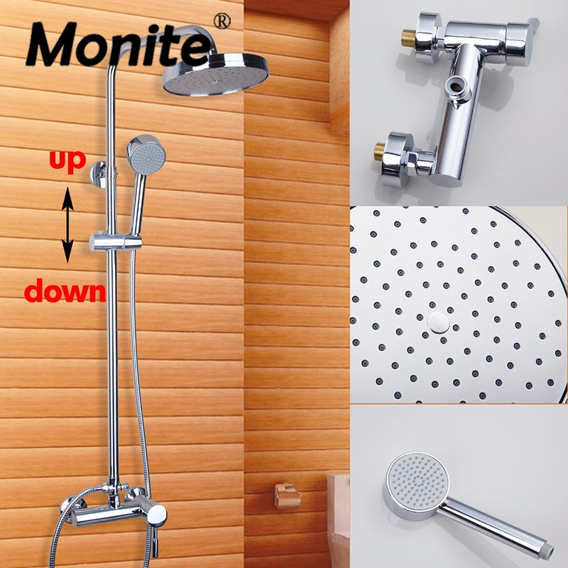 MONITE Bathroom Shower Set Faucets Polish Chrome Wall Mounted With Slide Bar Wall Mounted Shower Set Faucets Mixer