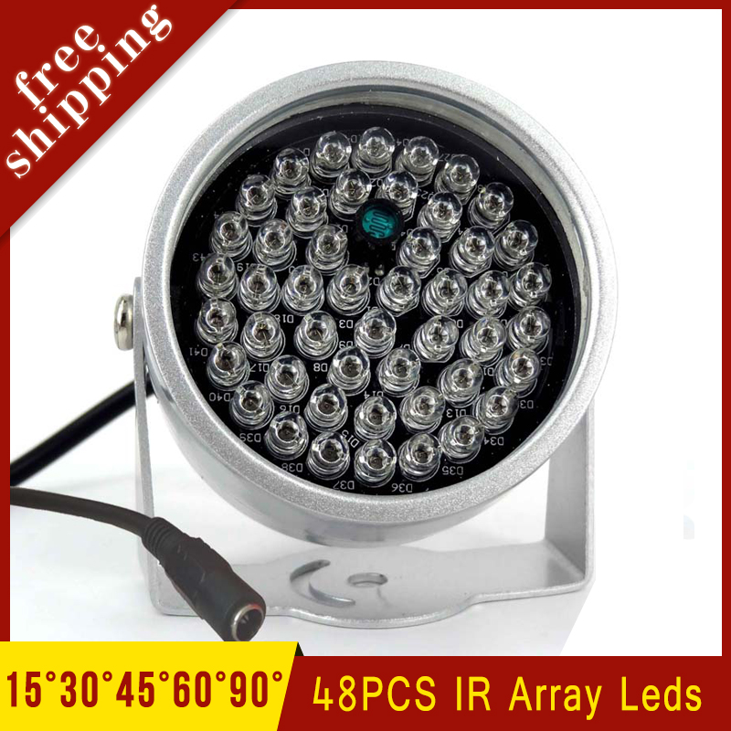 Outdoor Metal Shell Surveillance Cameras 90 degree 48Pcs Infrared IR Led 850nm Night Vision illuminator Lamp Free Shipping