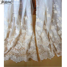 YACKALASI White Lace Fabric 3d Floral Rosette Embroidery Applique Allover Flower 125cm